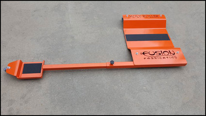 Holy Roller adjustable low-profile motorcycle dolly manufactured and marketed by Fusion Fabrication, 6545 E. County Road #14, Loveland Colorado 80537, to order call 970-690-6856