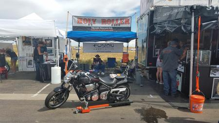 Holy Roller Adjustable Motorcycle Dolly - Our Booth at 2016 Thunder in the Rockies, Harley Davidson, Loveland Colorado. Labor Day Weekend, manufactured by Fusion Fabrication,  6766 E. County Road 18  Johnstown, CO 80534, 970-690-6856
